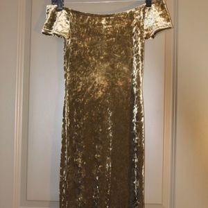 Crushed Velvet Olive Dress